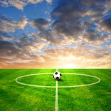 Football playground. Soccer ball on football playground Stock Photography