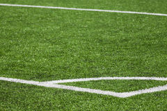 Football playing field background with green grass Stock Photography