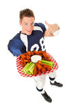 Football: Pointing to Plate of Wings stock images