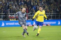 Football Polish league, fierce battle for the ball. Michał Pazdan. stock photos