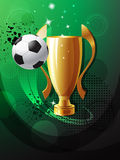 Football poster. With soccer ball and champion cup Royalty Free Stock Image