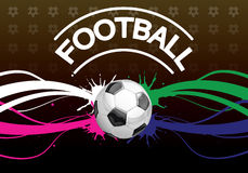 Football poster. Background for the announcement of a football mach foreground soccer ball Royalty Free Stock Image