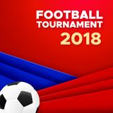 Football 2018 poster design with soccer ball. Football sport poster design. Vector background with soccer ball and russian colors red, blue, white. 2018 banner Stock Photo