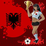 Football poster with girl and Albanian flag Stock Photos