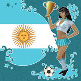 Football poster with girl and Argentinean flag Stock Photos