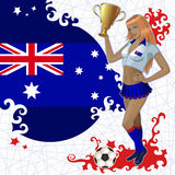 Football poster with girl and Australian  flag Royalty Free Stock Images