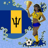 Football poster with girl and Barbados flag Royalty Free Stock Photography