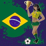 Football poster with girl and Brazilian flag Stock Photography