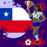 Football poster with girl and Chilean flag Stock Photography