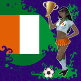 Football poster with girl and Cote d'Ivoire  flag Royalty Free Stock Photos