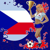 Football poster with girl and Czech  flag Royalty Free Stock Photo
