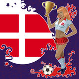Football poster with girl and Danish  flag Stock Images