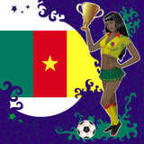 Football poster with girl and flag of Cameroon Royalty Free Stock Images