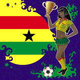 Football poster with girl and flag of Ghana Stock Images