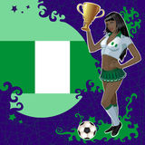 Football poster with girl and flag of Nigeria Royalty Free Stock Image
