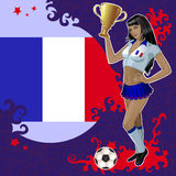 Football poster with girl and French flag Stock Photo