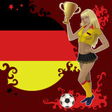 Football poster with girl and German  flag Royalty Free Stock Photography