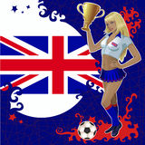 Football poster with girl and Great Britain flag Royalty Free Stock Photos