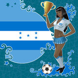 Football poster with girl and Honduran flag Royalty Free Stock Photos