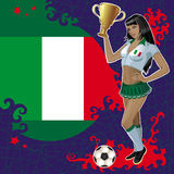 Football poster with girl and Italian flag Royalty Free Stock Image