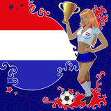 Football poster with girl and Netherlandish  flag Royalty Free Stock Image