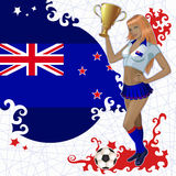 Football poster with girl and New Zealand  flag Stock Image