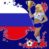Football poster with girl and Russian  flag Royalty Free Stock Photos