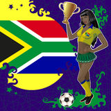 Football poster with girl and South African flag Royalty Free Stock Photo