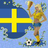Football poster with girl and Swedish flag Stock Images