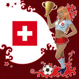 Football poster with girl and Swiss flag Stock Photography