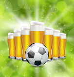 Football Poster with Glasses of Beer and Soccer Ball Royalty Free Stock Photography