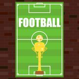 Football poster, poster in the form of a football field on a brick wall background. Golden Football Cup. Flat design, vector illustration, vector Stock Image