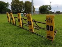Football Practice Blocking Sled. 5-Man Blocking Sled at Memorial Park in Rutherford, New Jersey, USA. This photo was taken on August 6th 2017 Stock Image
