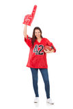 Football: Pretty Woman With Foam Finger And Ball Stock Photos
