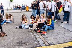 Football Public Viewing during The Kiel Week 2016, Kiel, Germany Royalty Free Stock Image