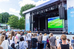Football Public Viewing during The Kiel Week 2016, Kiel, Germany Stock Images