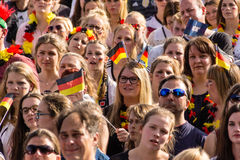 Football Public Viewing during The Kiel Week 2016, Kiel, Germany Stock Photos