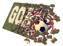 A football puzzle. Grass textured  jigsaw puzzle goal concept to win the game Royalty Free Stock Photos