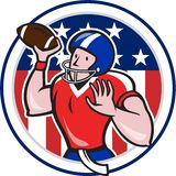 Football Quarterback Throwing Circle Cartoon Stock Photography