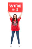 Football: We're #1 Sign Held In Air Above Head Stock Photography