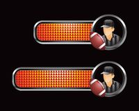 Football referee and ball on orange checkered tabs Stock Photos