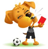 Football referee Dog shows red card. Soccer arbiter whistles royalty free illustration