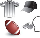 Football referee equipment. Picture of a football, referee hat, whistle, and shirt Stock Photo
