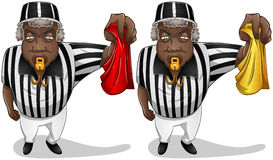 Football Referee with Flag and Whistle. A vector illustration of a football referee holding a red or yellow flag and whistles royalty free illustration