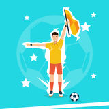 Football Referee Hold Flag Stock Images