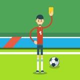 Football Referee Show Yellow Card Stock Photo