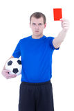 Football referee showing penalty card isolated. On white background Stock Photos