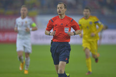 Football referee, William Willie Collum. William Willie Collum, Scottish football referee pictured during the international game between Romania and Hungary, 1-1 Stock Images