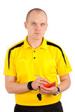 Football referee writing on red card Royalty Free Stock Photo