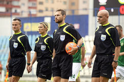 Football referees. FIFA football referees enter the pitch before the Romanian League 1 game between Otelul Galati and Concordia Chiajna, 1-2 Stock Photo